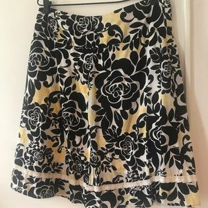 Floral black yellow and white dress barn size 10
